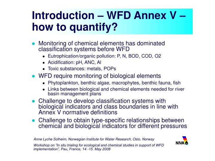 Introduction wfd annex v how to quantify