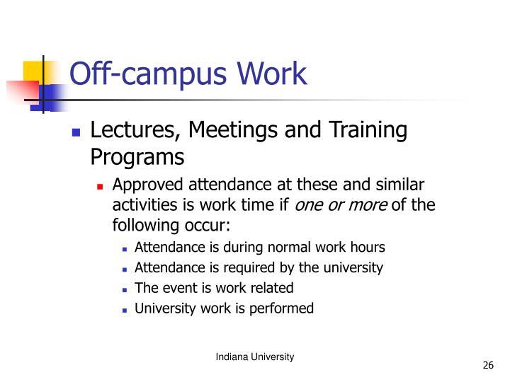 Off-campus Work