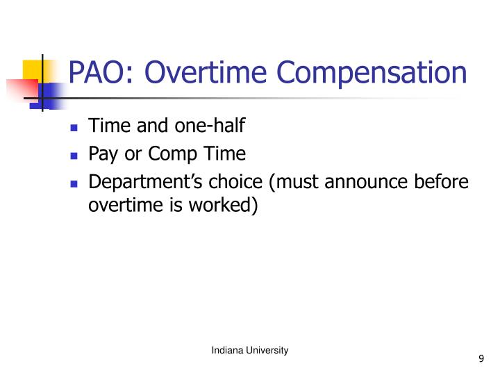 PAO: Overtime Compensation