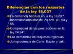 diferencias con los reajustes de la ley 18 037