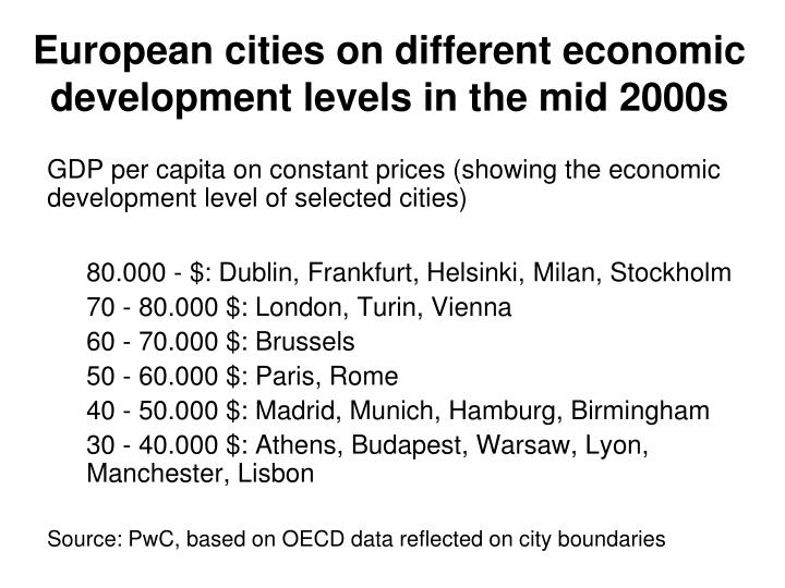 European cities on different economic development levels in the mid 2000s