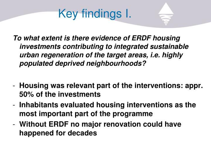 Key findings I.