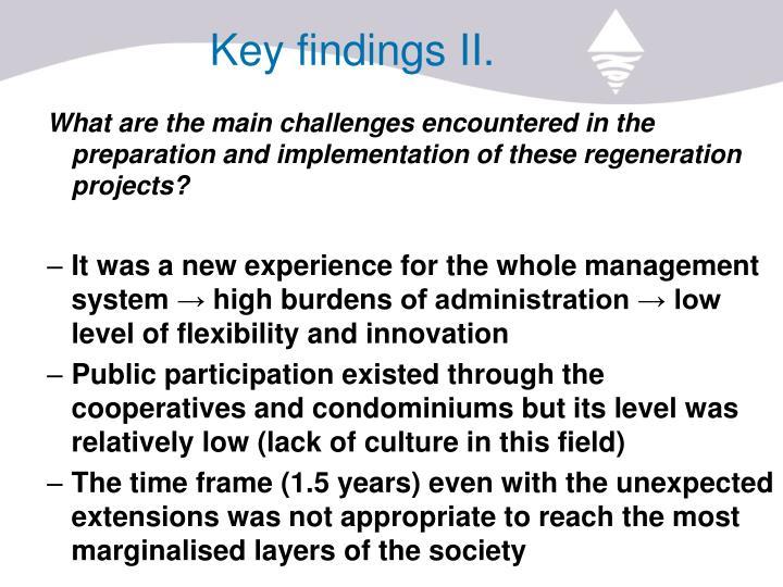 Key findings II.