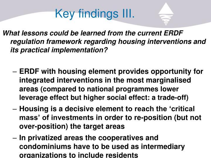 Key findings III.