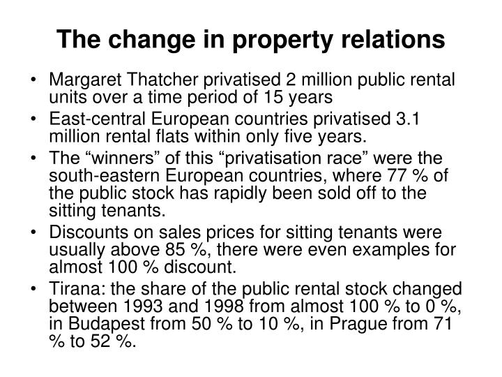 The change in property relations