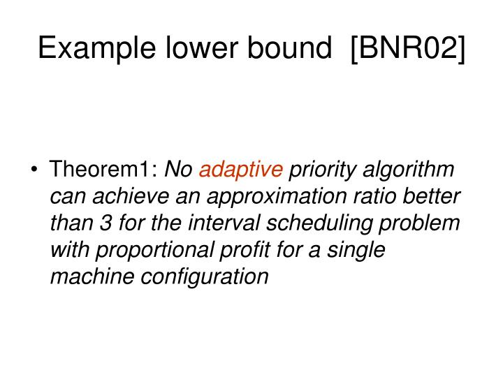 Example lower bound  [BNR02]