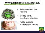 why participate in budgeting