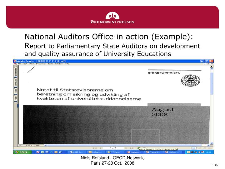 National Auditors Office in action (Example):