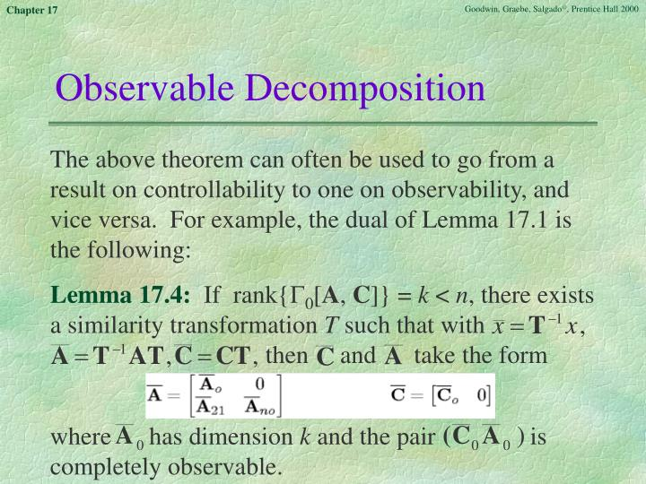Observable Decomposition