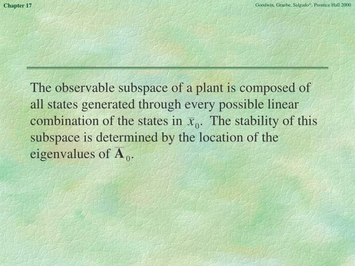 The observable subspace of a plant is composed of all states generated through every possible linear combination of the states in     .  The stability of this subspace is determined by the location of the eigenvalues of      .