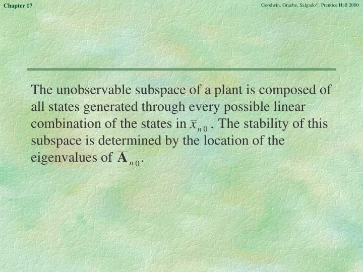 The unobservable subspace of a plant is composed of all states generated through every possible linear combination of the states in         The stability of this subspace is determined by the location of the eigenvalues of        .