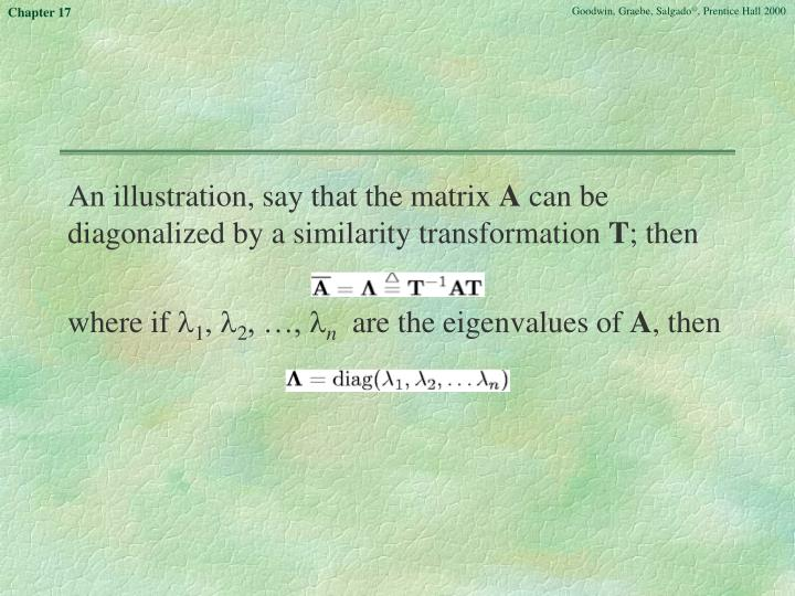 An illustration, say that the matrix