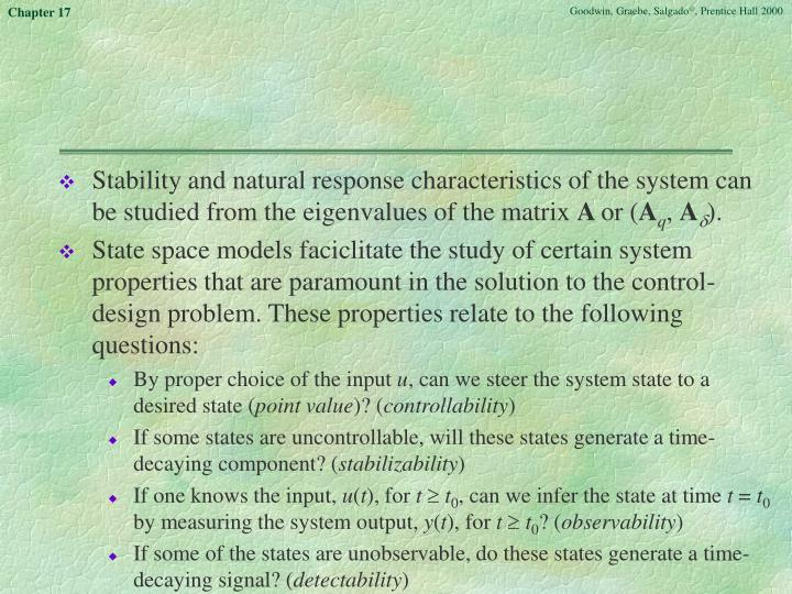 Stability and natural response characteristics of the system can be studied from the eigenvalues of the matrix