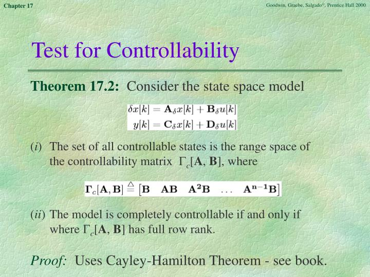 Test for Controllability