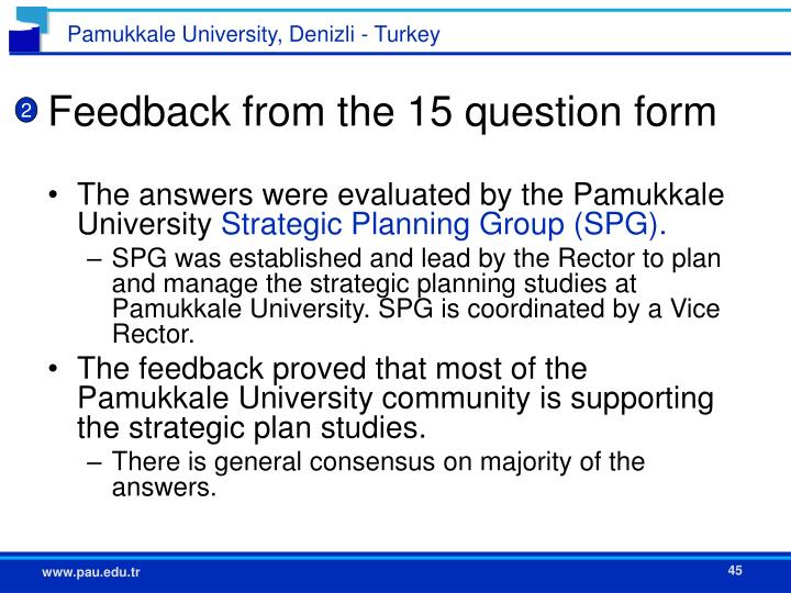 Feedback from the 15 question form