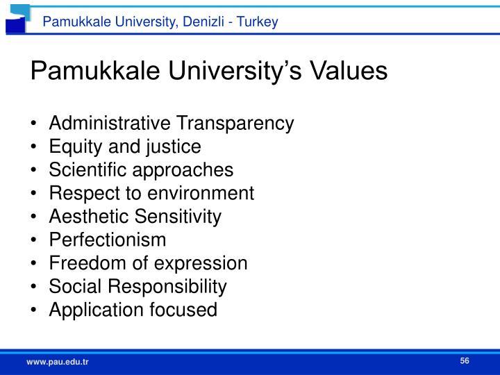 Pamukkale University's Values