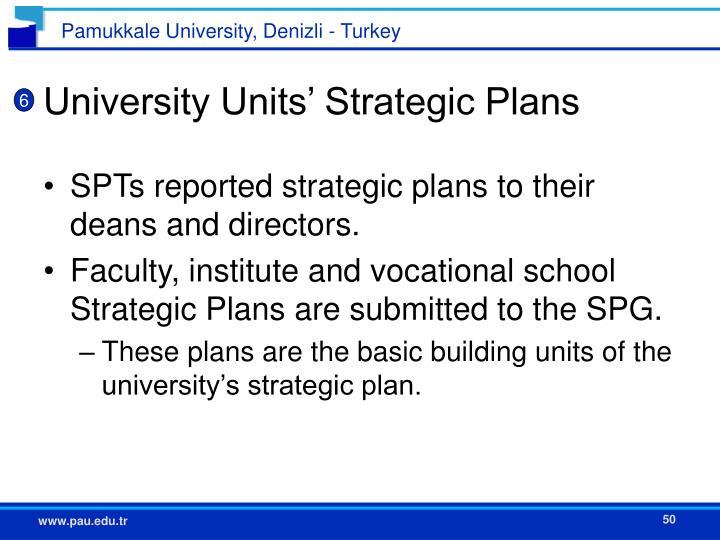 University Units' Strategic Plans
