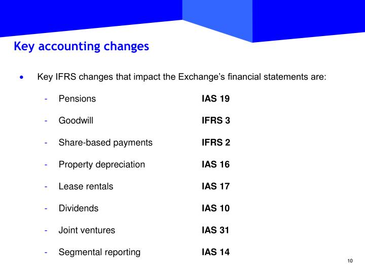 Key accounting changes