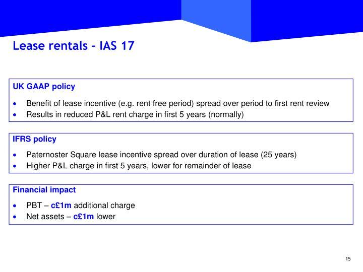 Lease rentals – IAS 17