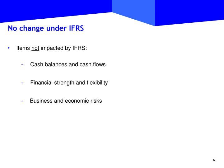 No change under IFRS