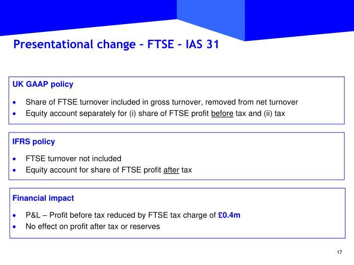 Presentational change – FTSE – IAS 31
