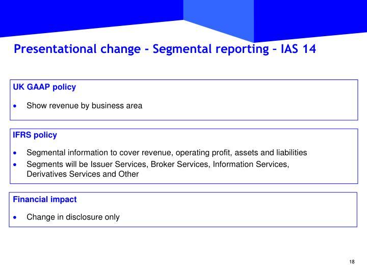 Presentational change - Segmental reporting – IAS 14