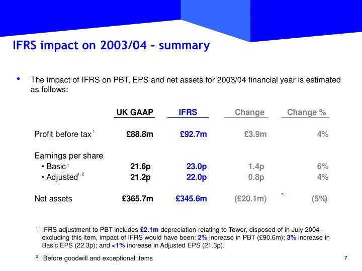 IFRS impact on 2003/04 - summary