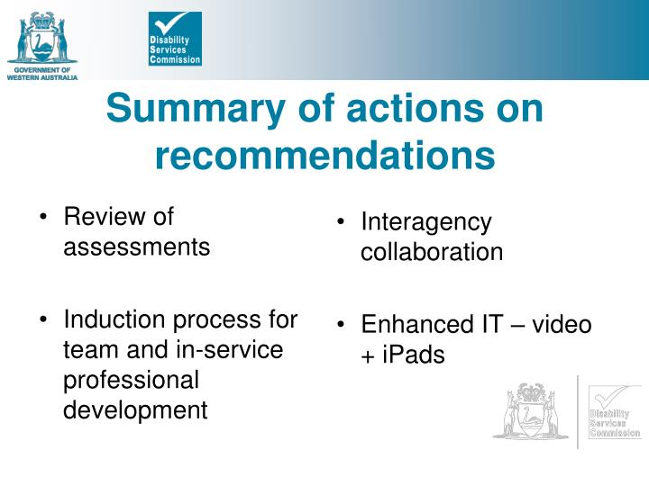 Summary of actions on recommendations