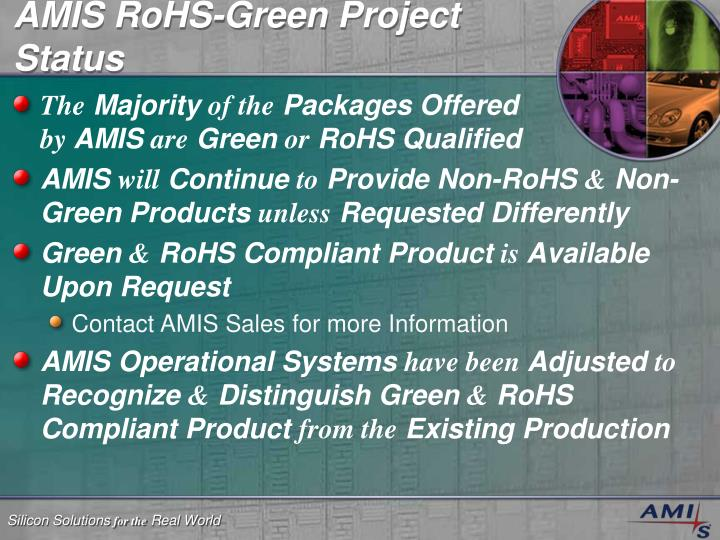 AMIS RoHS-Green Project