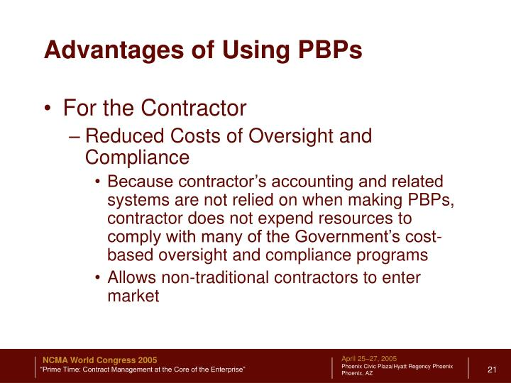 Advantages of Using PBPs