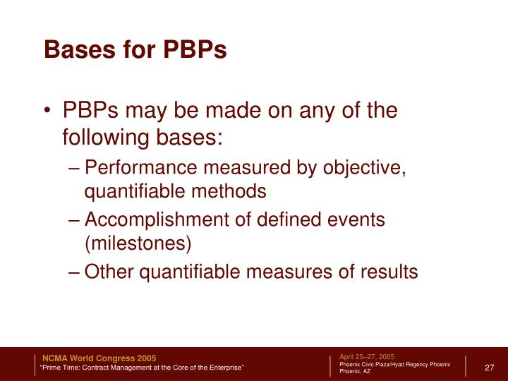 Bases for PBPs