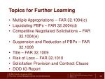 topics for further learning