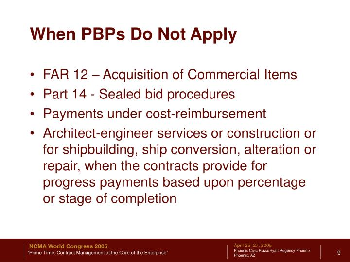 When PBPs Do Not Apply