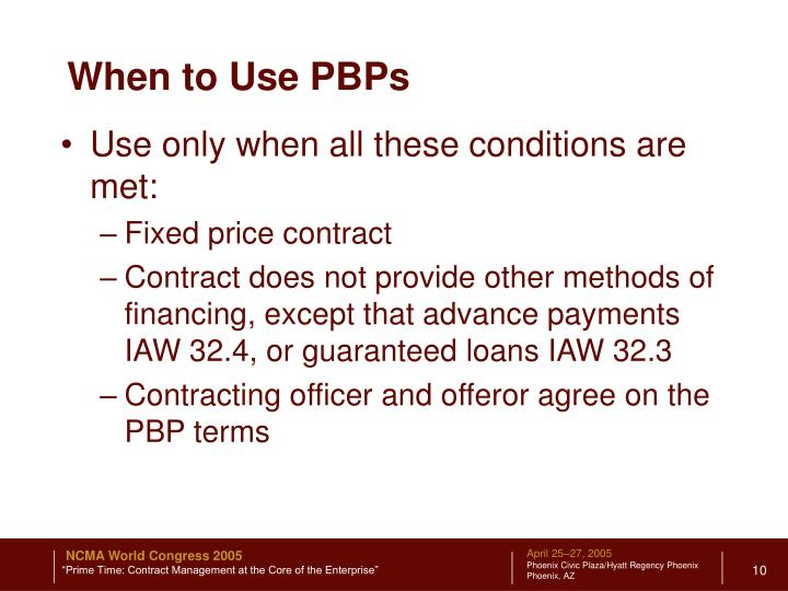 When to Use PBPs