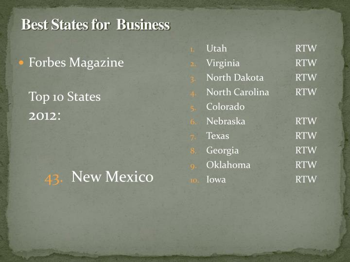 Best States for  Business