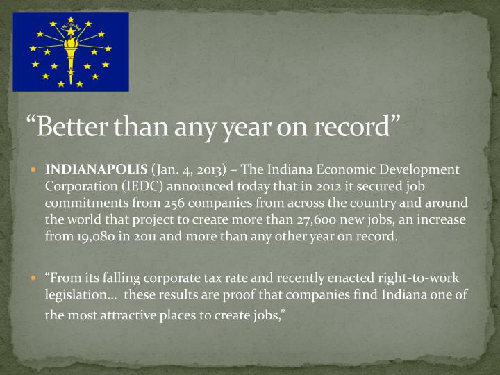"""""""Better than any year on record"""""""