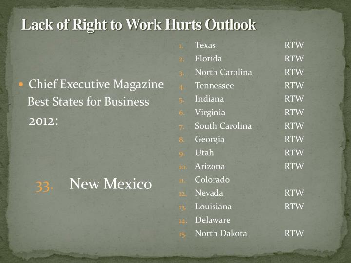 Lack of Right to Work Hurts Outlook