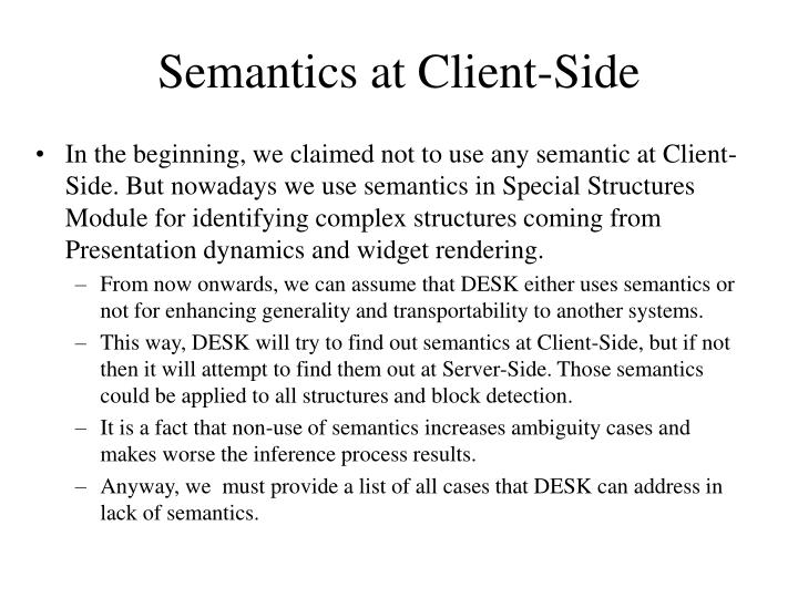Semantics at Client-Side