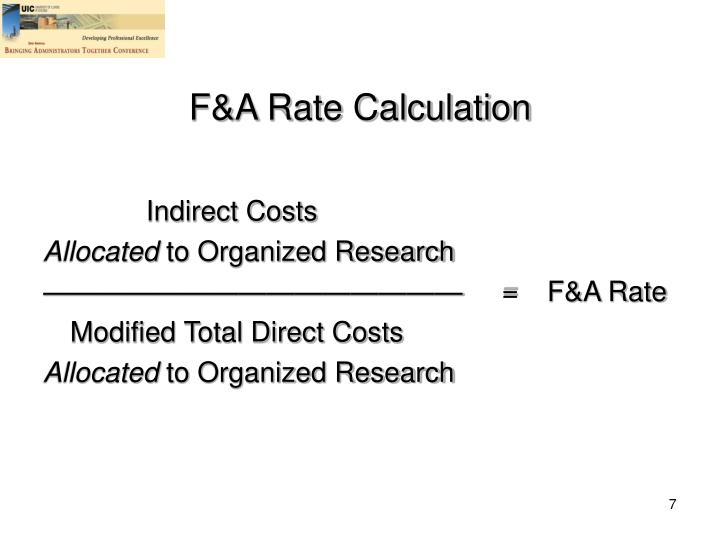 F&A Rate Calculation