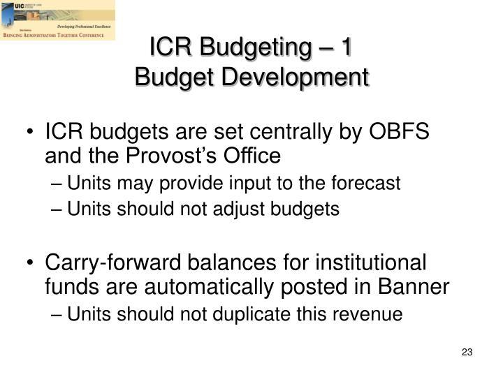 ICR Budgeting – 1