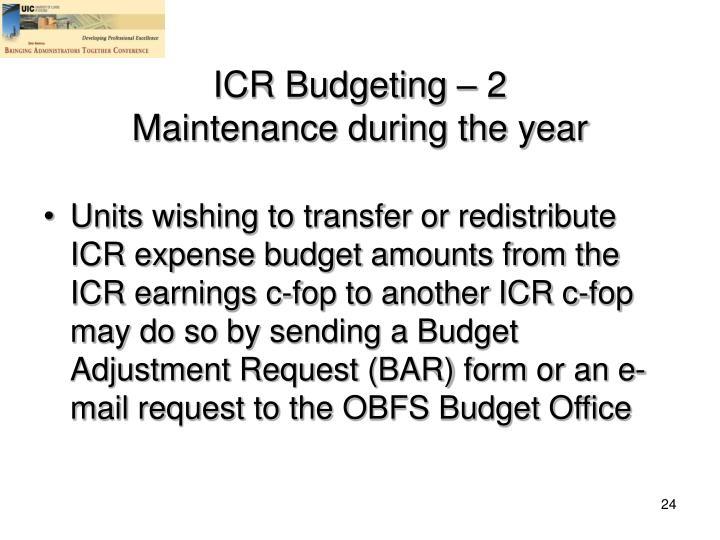 ICR Budgeting – 2