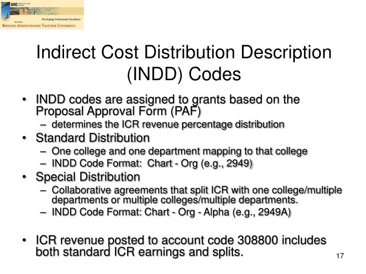 Indirect Cost Distribution Description (INDD) Codes