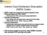 indirect cost distribution description indd codes