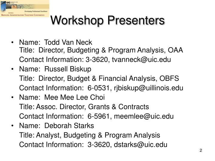 Workshop Presenters