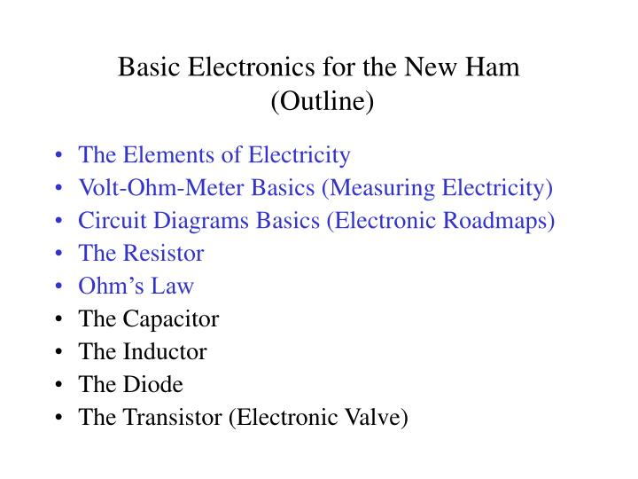Basic electronics for the new ham outline