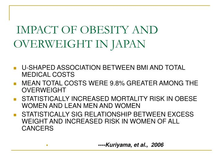 IMPACT OF OBESITY AND OVERWEIGHT IN JAPAN