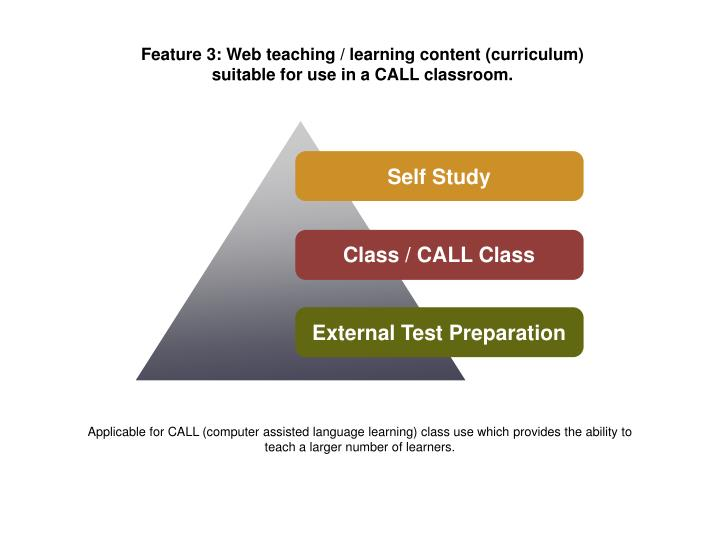 Feature 3: Web teaching / learning content (curriculum)
