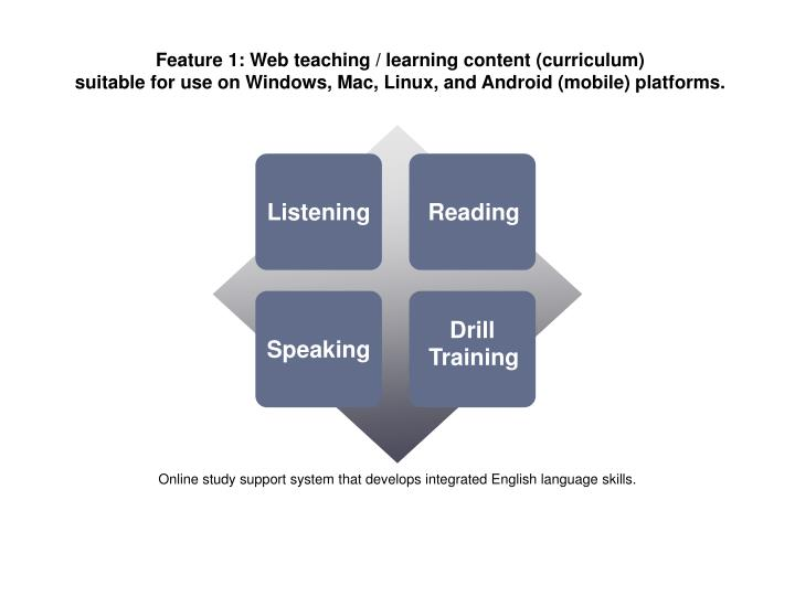 Feature 1: Web teaching / learning content (curriculum)
