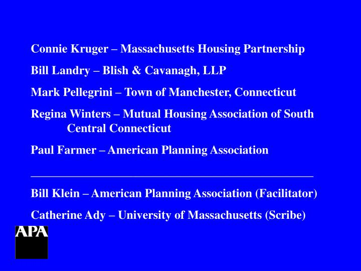 Connie Kruger – Massachusetts Housing Partnership