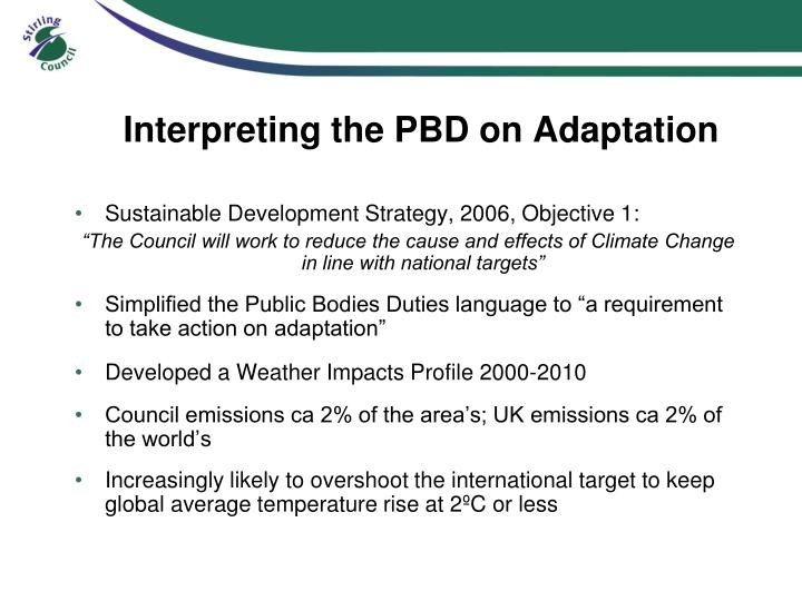 Interpreting the PBD on Adaptation